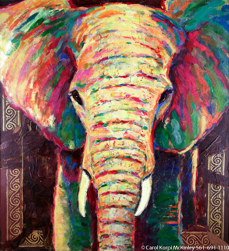 40 x 80 cm Colorful elephant paintings wall decor